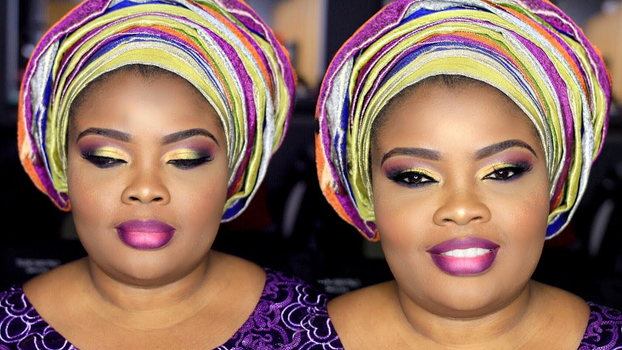 nigerian traditional wedding makeup and gele || tai lo