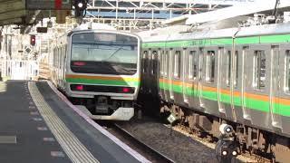 【発車】籠原駅をE231系1000番台回送列車が発車 埼玉11-3-1