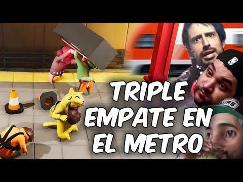 TRIPLE EMPATE EN EL METRO OEEE! Gang Beast en Español - GOTH