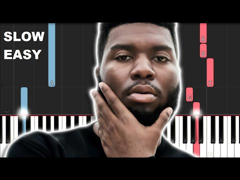 Khalid  Young, Dumb and Broke SLOW EASY PIANO TUTORIAL