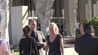 Christina Applegate and Martyn LeNoble greets fans outside the Dorothy Chandler Pavilion in Los Ange