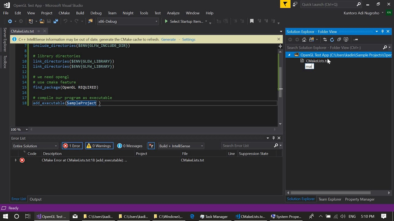 Setting Up OpenGL CMake based Project in Visual Studio 2017 using GLEW and  GLFW - Part2