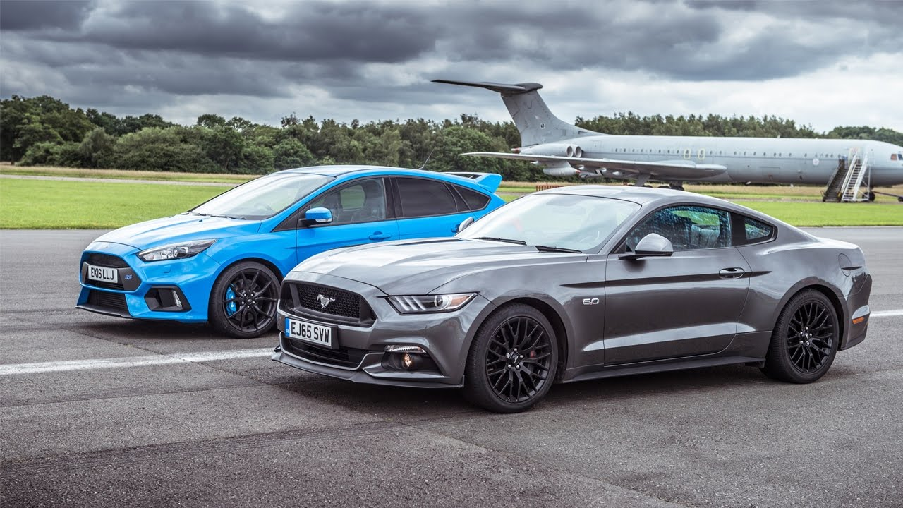 Ford Mustang vs Ford Focus RS | Top Gear: Drag Races - YouTube