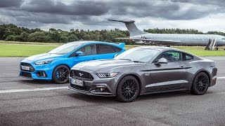 Ford Mustang vs Ford Focus RS   Top Gear  Drag Races