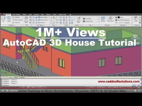 AutoCAD 3D House Modeling Tutorial - 1 | 3D Home Design | 3D Building | 3D Floor Plan | 3D Room