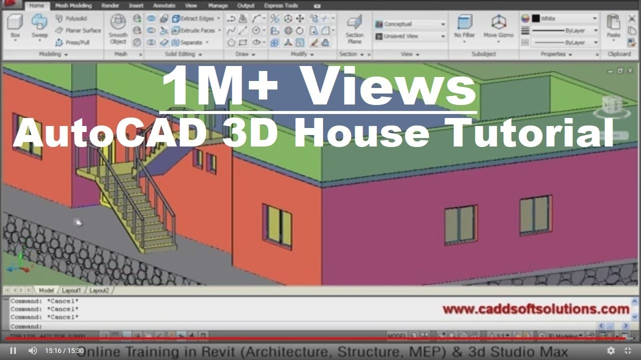 autocad 3d house modeling tutorial 1 3d home design 3d building 3d floor plan 3d room youtube. beautiful ideas. Home Design Ideas