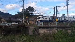 キハ47系  観光列車 etSETOra 2両編成 宮島口行き 道狭み第2踏切通過