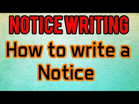 How to write a Notice.(Notice Writing)