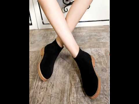 Nubuck leather brush off boot ankle boots women.avi