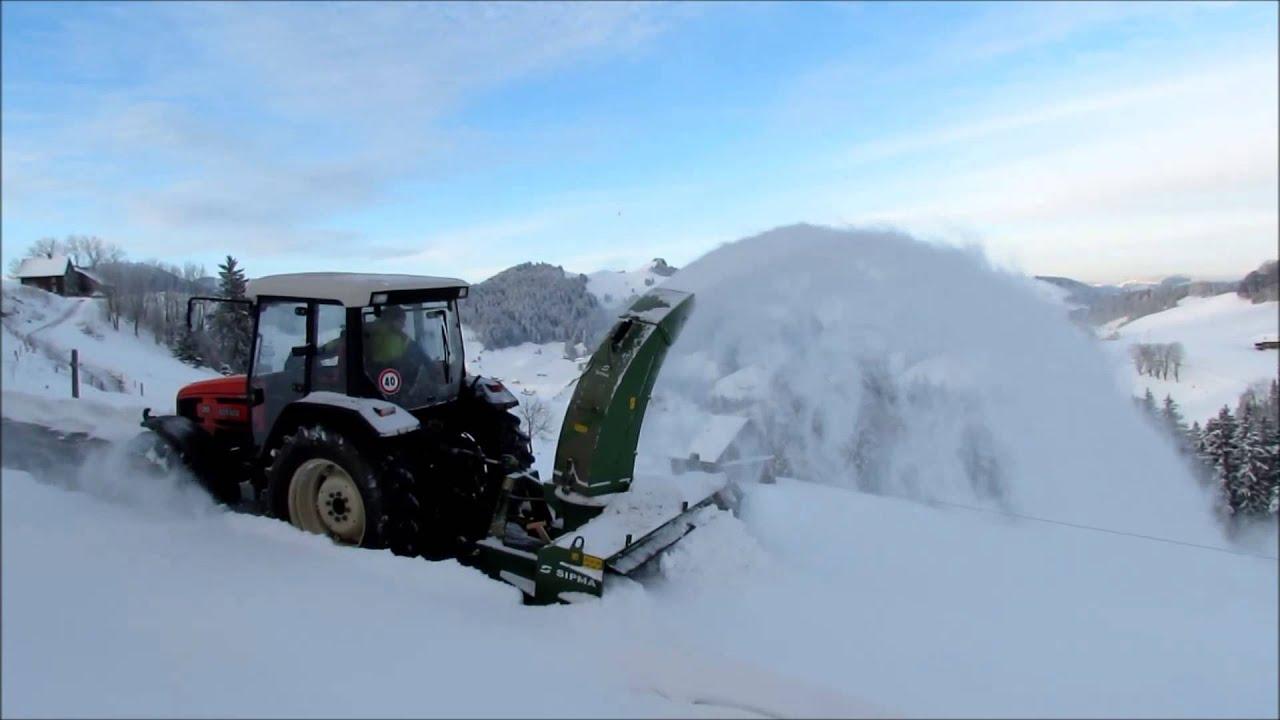 schneefräse an traktor/dreipunkt 2.2m - youtube