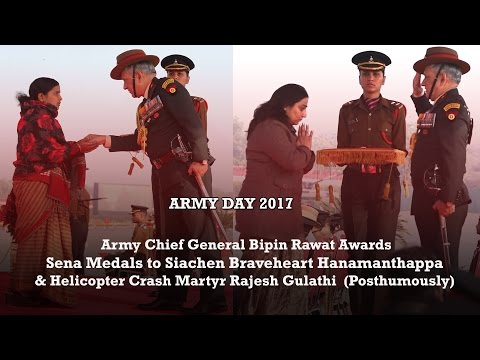 Army Chief Reviews 69th Army Day Parade and Awards 15 Sena Medals (5 Posthumous) to Bravehearts