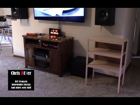 DIY Homemade Oak Stereo Audio/visual Shelf Stand Cabinet (subwoofer Will Go  Underneath)