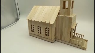 How To Make A Popsicle Stick Church - Popsicle Stick House