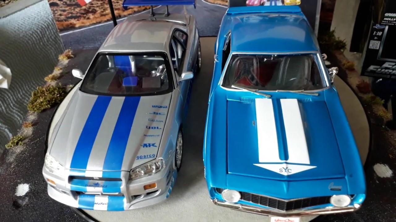 2 Fast 2 Furious Movie 2003 1/18 1969 Chevrolet Camaro Yenko vs 2001 Nissan  Skyline GT-R 34 Diecast - YouTube