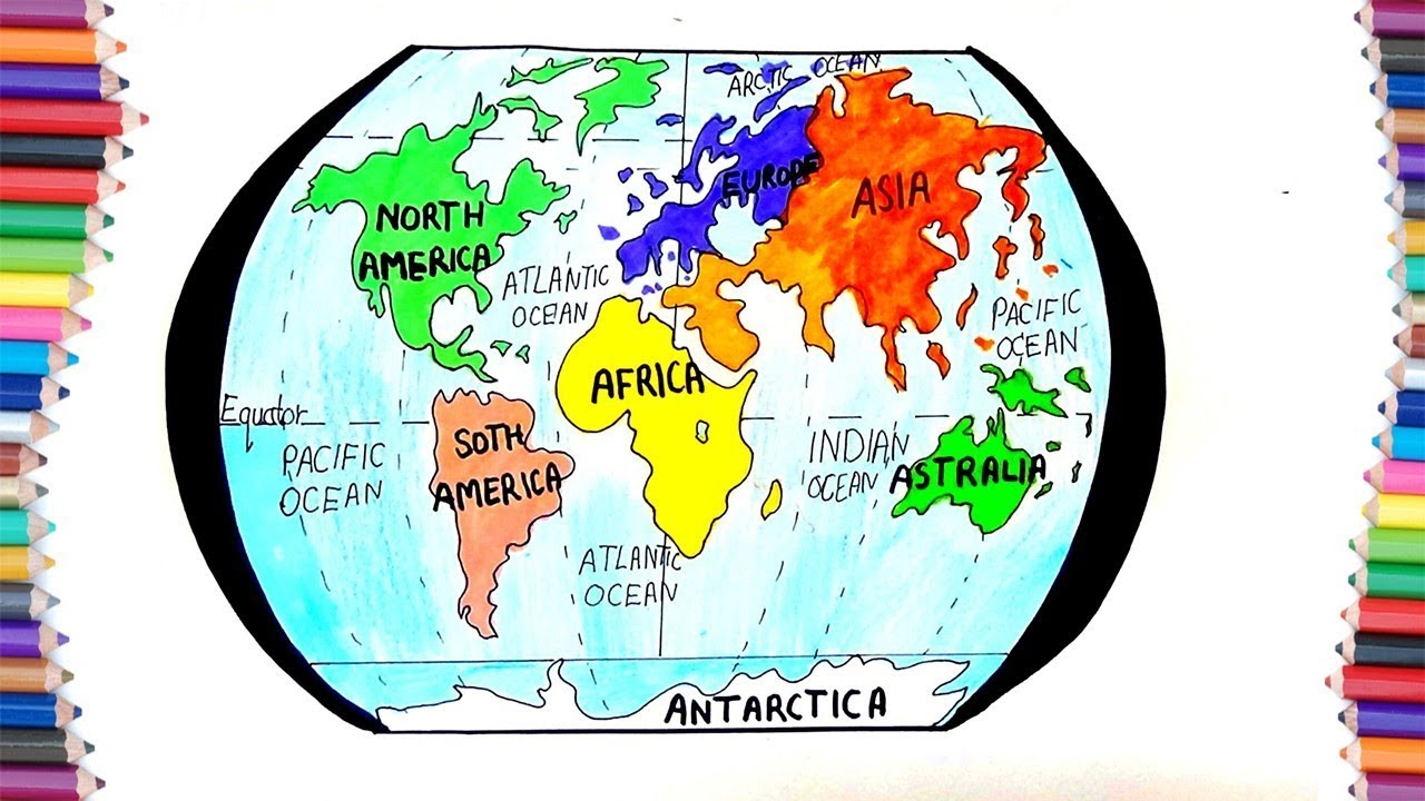 HOW TO DRAW 7 CONTINENT OF EARTH FOR KIDS
