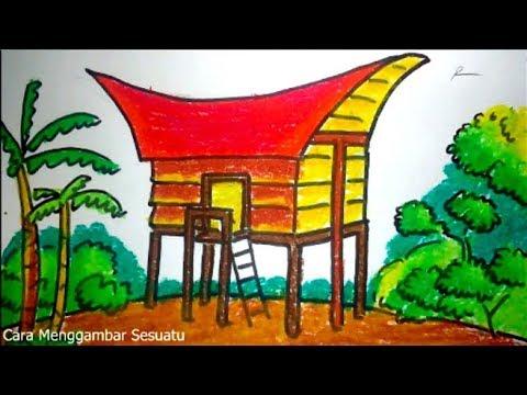 Cara Menggambar Rumah Adat Tongkonan Tana Toraja Sulawesi