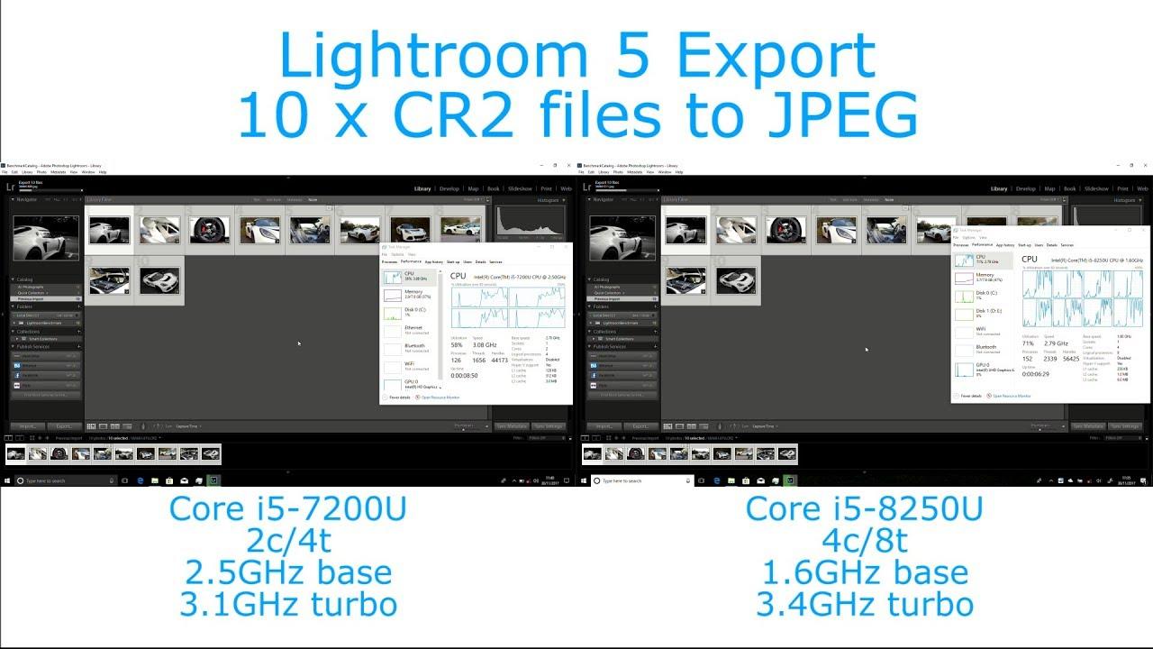 intel core i5 7200u vs i5 8250u lightroom 5 export performance youtube. Black Bedroom Furniture Sets. Home Design Ideas