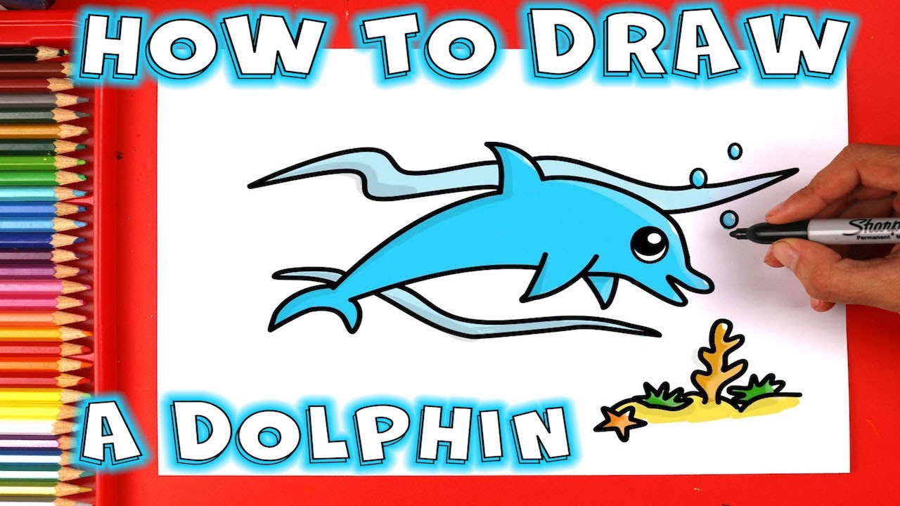 How to Draw a Dolphin Underwater for kids and Beginners ...