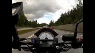 Kawasaki ER-6n 2012, highway in to Stockholm - GoPro [HD]