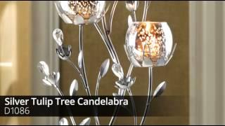 Silver Tulip Tree Candelabra - D1086