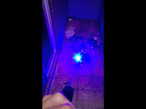 Laser pen ignition upon gasoline paper