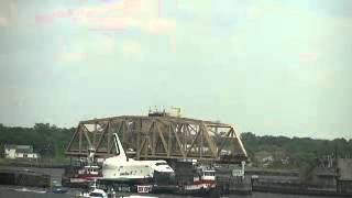 Space Shuttle Enterprise pass through A-train draw bridge Broad Channel NYC 6-3-2012 pt 3