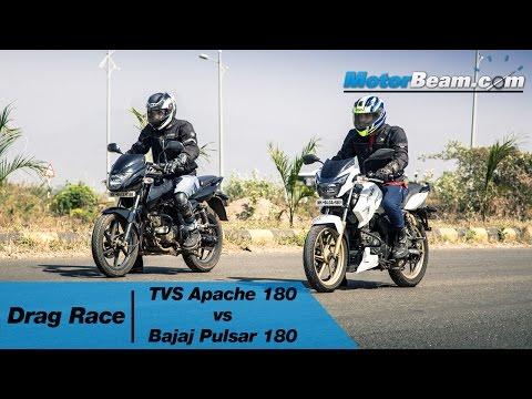 TVS Apache 180 vs Pulsar 180  Drag Race  MotorBeam