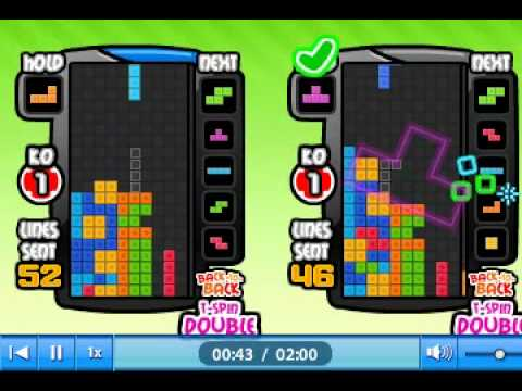 Tetris Battle Rank50 T spin 180 lines sent