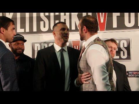WLADIMIR KLITSCHKO V TYSON FURY - EXTREMELY INTENSE HEAD TO HEAD @ LONDON PRESS CONFERENCE