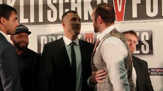 WLADIMIR KLITSCHKO v TYSON FURY - EXTREMELY INTENSE HEAD TO HEAD @ LONDON PRESS CONFERENCE