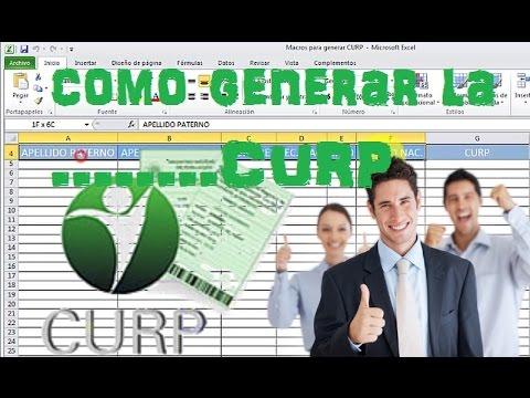 como generar la CURP en excel (macros) 100% efectivo.