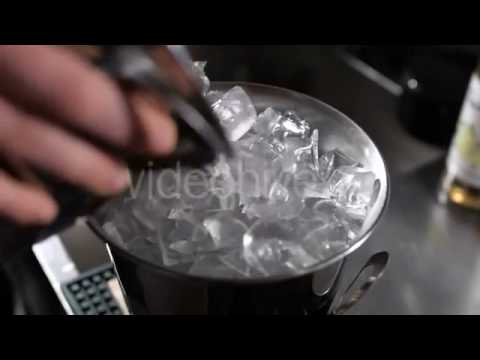 Metal Ice Bucket. Barman Add Ice. | Stock Footage