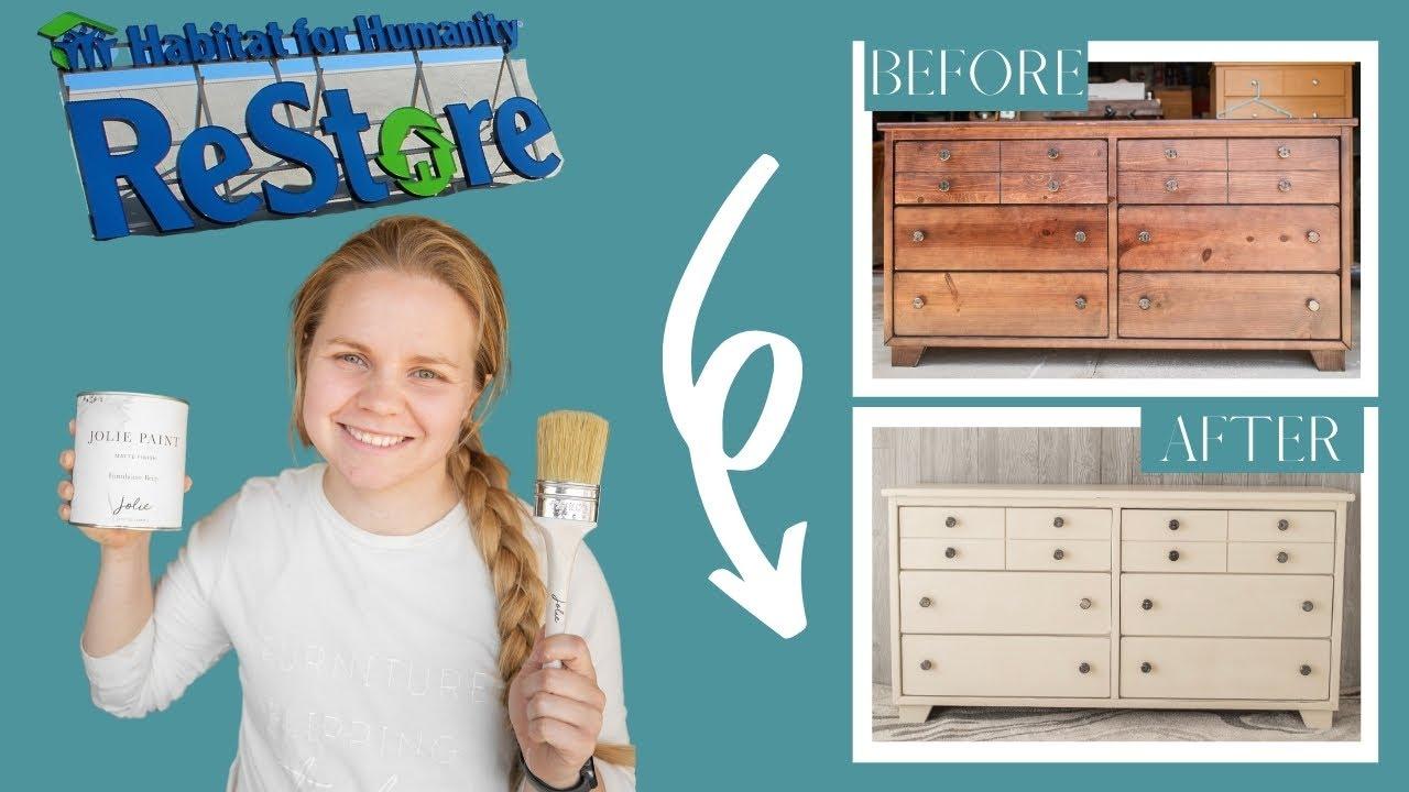 Flipping a Habitat for Humanity ReStore Dresser | Jolie Paint Farmhouse Beige Makeover