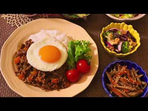【料理】キーマカレー、キャベツのにんにく炒め