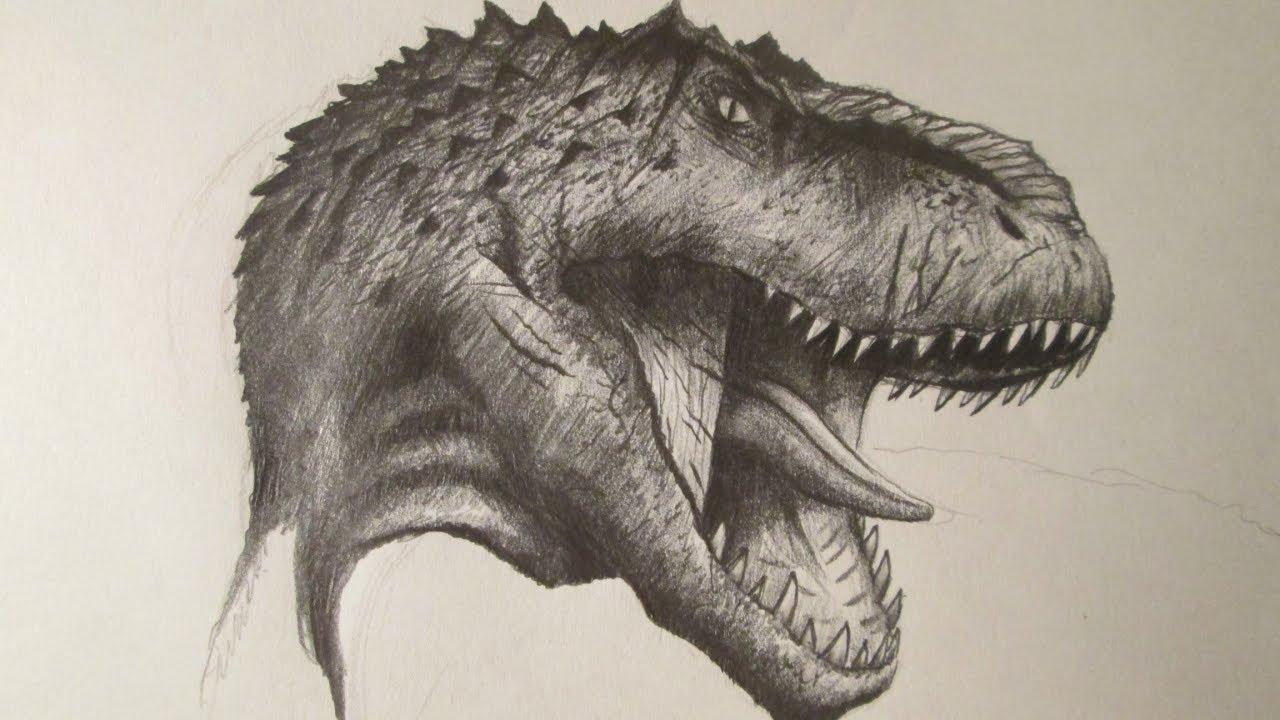 Dibujos De Dinosaurios: Cómo Dibujar La Cabeza De Un Dinosaurio Carnívoro A Lápiz