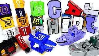 Alphabet combine transform submarine, ship VS Power Rangers Zyuohger number cube - DuDuPopTOY