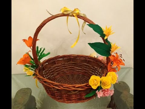 Diy How to decorate Gift hamper basket with paper flowers