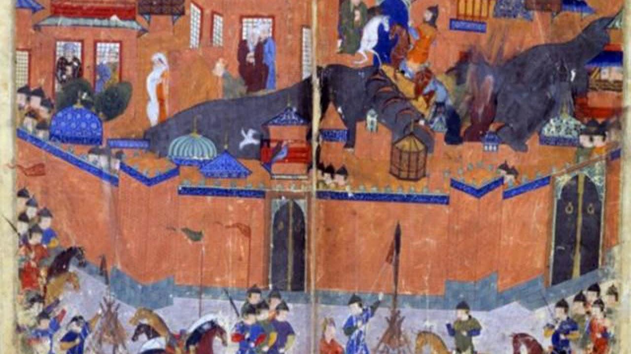 Lukisan ini menggambarkan pasukan Hulagu menyerbu Bagdad (gambar dari: https://www.youtube.com/watch?v=lt8mdwtx5Vc)