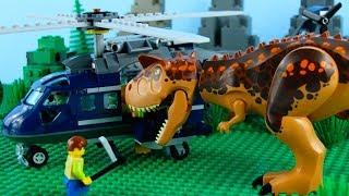 LEGO Jurassic World STOP MOTION LEGO Carnotaurus Helicopter Attack | LEGO Dinosaurs | Billy Bricks
