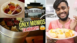 I only ate Momos for 24 HOURS !! challenge in other country!! 😨