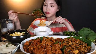 ENG SUB)Spicy Gobchang(Stir-fried Pork Tripe)&Corn cheese Steamed egg MUCKBANG ASMR