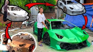 The process of making a lamborghini supercar yourself from paperboard