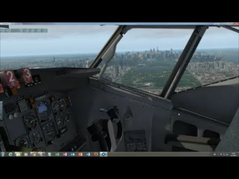 FlyJSim 727-100 Boston Logan to New York La Guardia (stunning approach!)