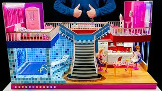 DIY Miniature Doll House Rooms Barbie Crafts  Bedroom and swimming pool backlit, living room.