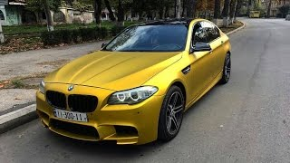 Gold M5 F10 Drift in City, Accelerations, and Police Chase