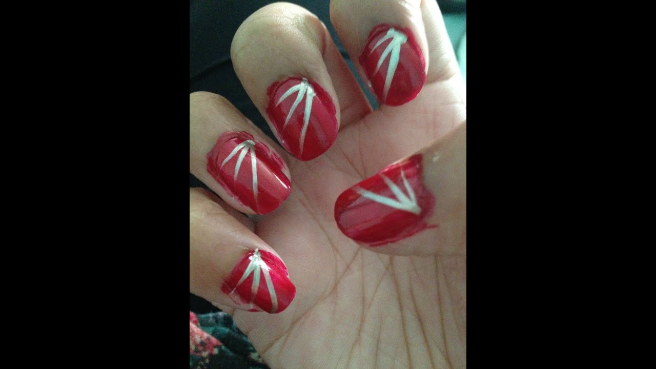 Red nails Silver stripes - YouTube