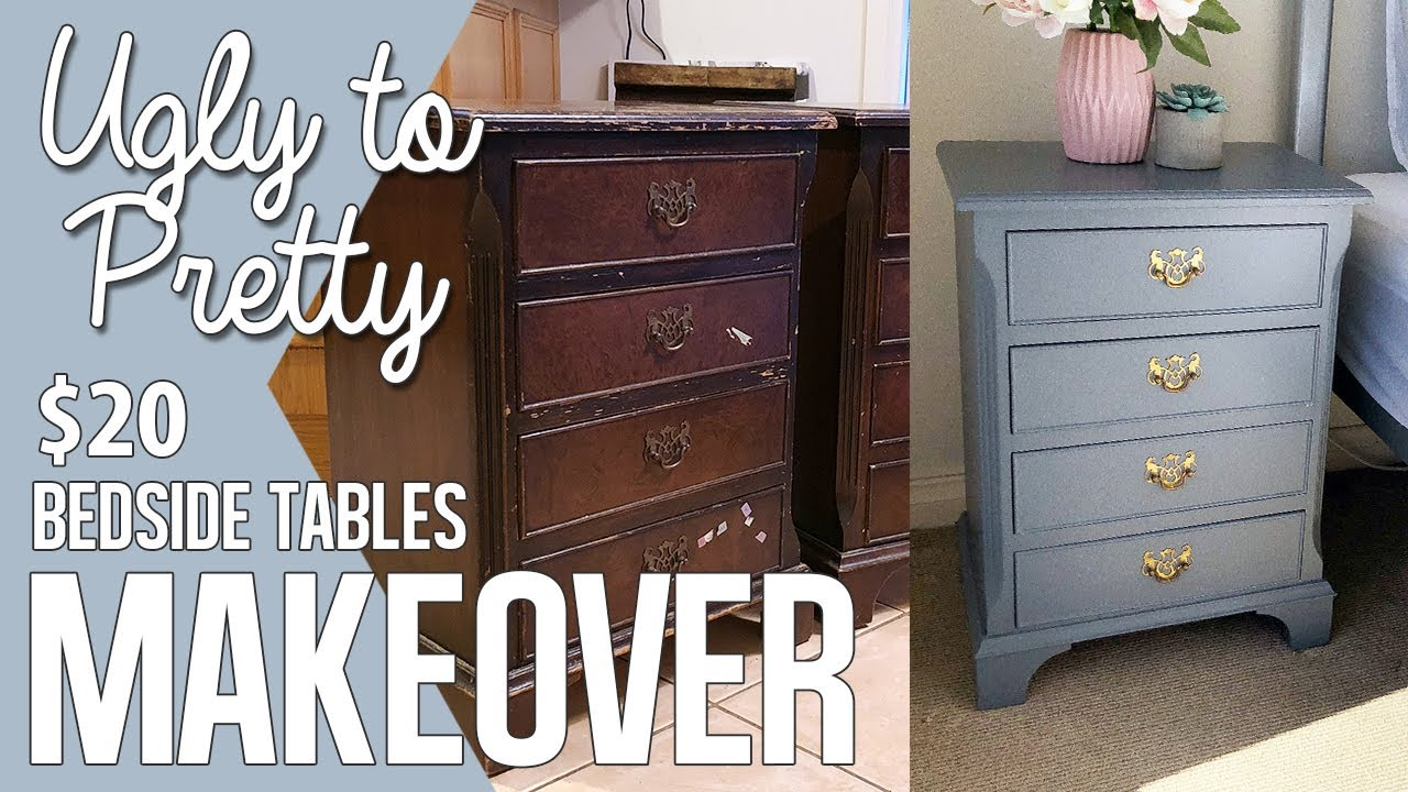 DIY Bring Bedside Tables Back To LIFE! Using Grey Paint to restore your drawers $20 Makeover Hack