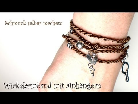 schmuck selber machen wickelarmband mit anh ngern youtube. Black Bedroom Furniture Sets. Home Design Ideas