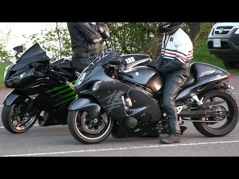 Hayabusa vs Kawasaki Ninja -1/4 mile drag race of street bikes