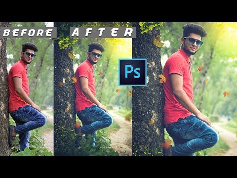 Photoshop Tutorial | A boy Standing with Tree Outdoor Photo manipulation